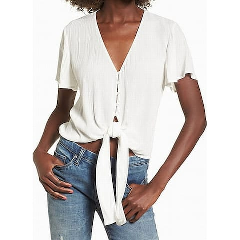 Lush White Ivory Womens Size Large L Tie-Front Crinkle Blouse