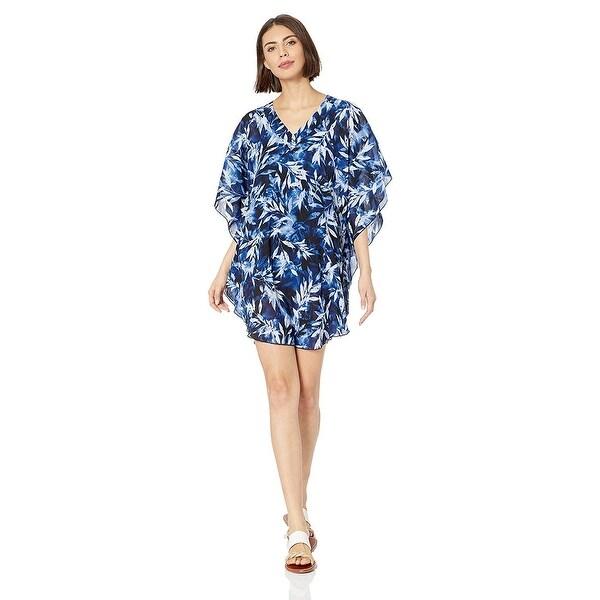 Maxine Of Hollywood Womens Plus-Size V-Neck Kimono Sleeve Kaftan Dress