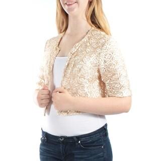 CALVIN KLEIN $129 Womens 1169 Gold Bolero Sequined Party Jacket S B+B