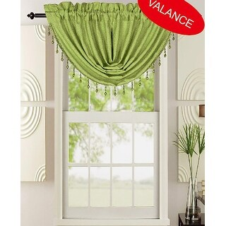 Leah Waterfall Rod Pocket Valance with Beads, 48x37
