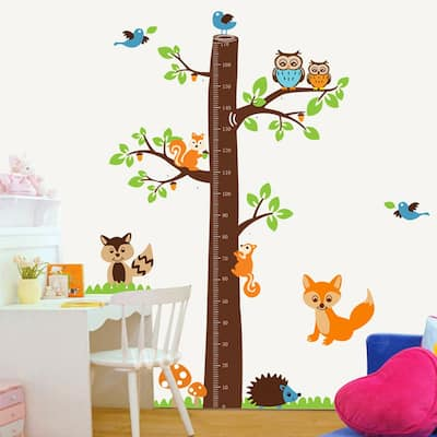 Walplus Wall Sticker Decal Fox Tree Height Measure Chart Nursery Decor