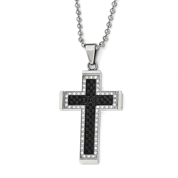 Chisel Stainless Steel Polished Black IP-Plated CZ Cross Necklace - 22 in
