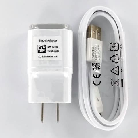 LG 1.8A Micro USB Charger w/Micro USB Cable (White) - White