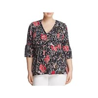 Junarose Womens Plus Jrolga Blouse Floral Print Button Front