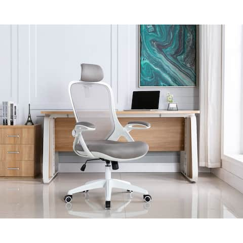 Porthos Home Vache Swivel Office Chair, Mesh Back, Adjustable Headrest