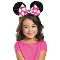 Girls Pink Minnie Mouse Sequin Ears - standard - one size