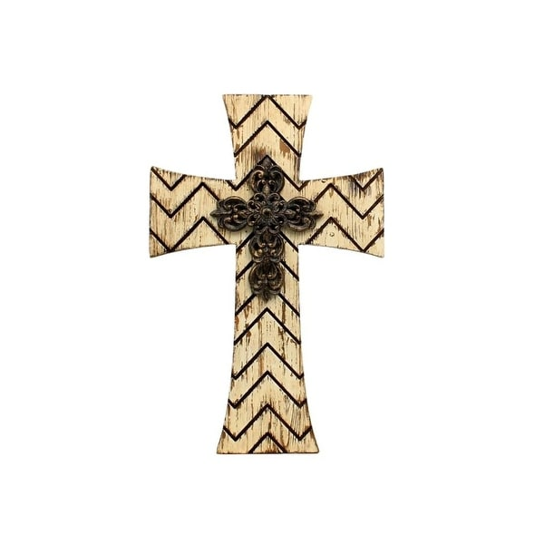 Shop Western Moments Wall Décor Distressed Wood Chevron Cross Ivory ...