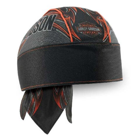 Harley-Davidson Men's Tribal Edge Piping Perforated Headwrap, Black HW29364 - One Size