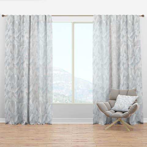Designart 'Abstract White Geometric Pattern' Scandinavian Curtain Panel