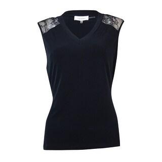Calvin Klein Women's Sleeveless Lace Inset Jersey Blouse - Navy