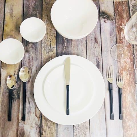 "INOX Midnight Black La Scalla 20 Pc. Flatware Set (Serves 4) - 9"" Dinner nife, 8.25"" Dinner Fork, 8"" Dinner Spoon"