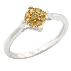 Brand New 0.19ct Round Brilliant Cut Yellow Color Trated Diamond Engagement Ring