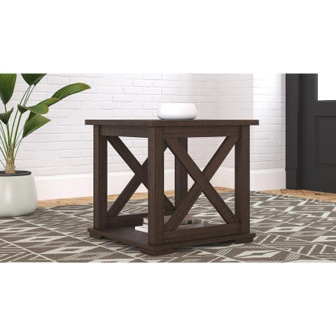 Camiburg Casual Square End Table, Antique Gray
