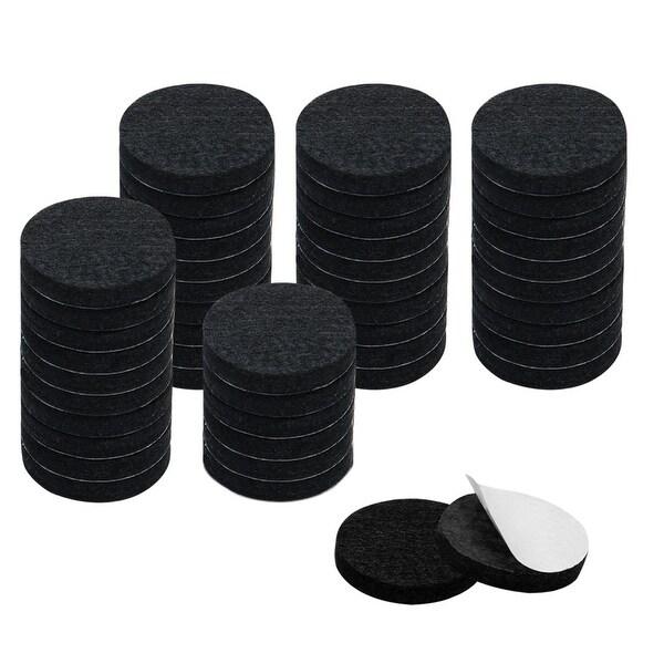 "48pcs Furniture Felt Pads Round 1 5/8"" Self-stick Non-slip Anti-scratch Pads for Cabinet Chair Feet Leg Protector Black"