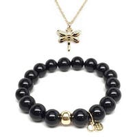 Black Onyx Bracelet & Dragonfly Gold Charm Necklace Set