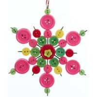 "5.25"" Bohemian Holiday Whimsical Button Design Snowflake Decorative Christmas Ornament - green"