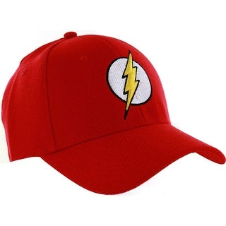 DC Comics Men S Flash Faux Wool Baseball Cap 3D Embroidered Logo Red One Size