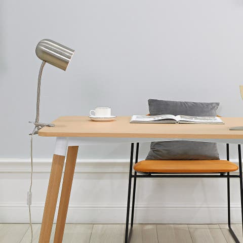 """Carter 15"""" Brushed Nickel Clip-Arm Desk Lamp with Adjustable Gooseneck"""