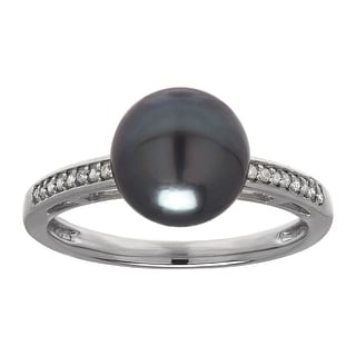 Tahitian Freshwater Pearl Ring with Diamonds in 14K White Gold - Grey