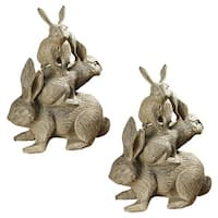 Design Toscano Bunched Bunnies Cast Iron Rabbit Statue: Set of Two