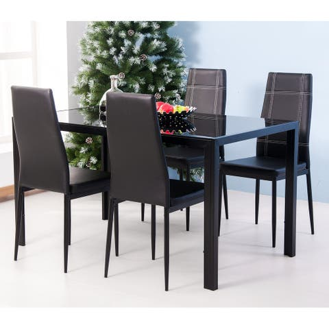 Nestfair 5-piece Tempered Glass Table and Chairs Dining Set