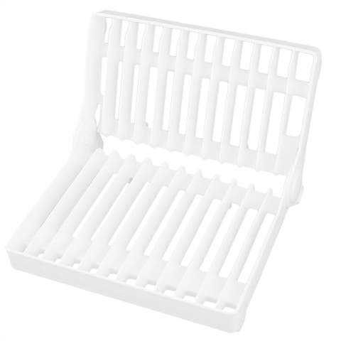 Dish Cup Drying Floding Rack Drainer Tray Cutlery Organizer Storage - White