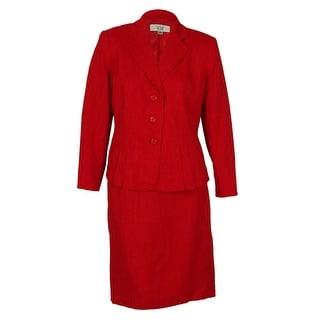 Le Suit Women's Pleat Jacket Buiness Skirt Suit Set - 22W