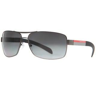 PRADA Rectangular SPS 54I Men's 7CQ 5W1 Gunmetal Polarized Gray Gradient Sunglasses - 65mm-14mm-125mm