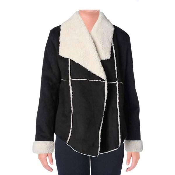 Dylan Womens True Grit Coat Faux Shearling Shawl Collar