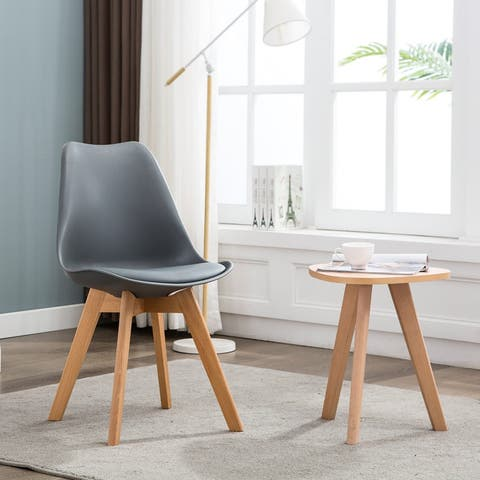 Modern Dining Room Chair Wood & Faux Leather Set of 4,Grey