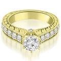 2.90 cttw. 14K Yellow Gold Antique Cathedral Round Cut Diamond Engagement Set - Thumbnail 2