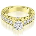 2.90 cttw. 14K Yellow Gold Antique Cathedral Round Cut Diamond Engagement Set,HI,SI1-2 - Thumbnail 2
