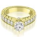 3.15 cttw. 14K Yellow Gold Antique Cathedral Round Cut Diamond Engagement Set - Thumbnail 2