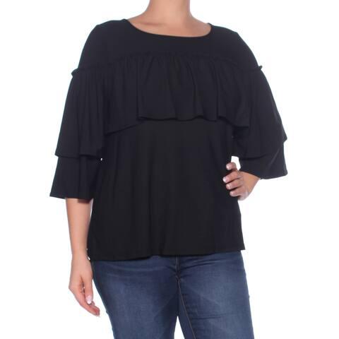 KENSIE Womens Black Ruffled Kimono Sleeve Jewel Neck Top Size: L