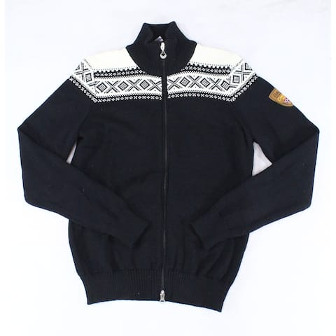 Dale Norway Men's Sweater Black Size Medium M Full Zip Mock Neck