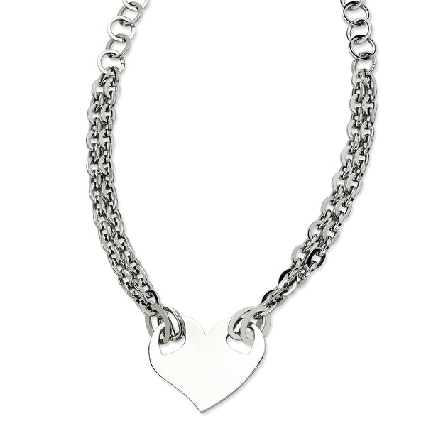 Chisel Stainless Steel Polished Heart 20 Inch Necklace (11 mm) - 20 in