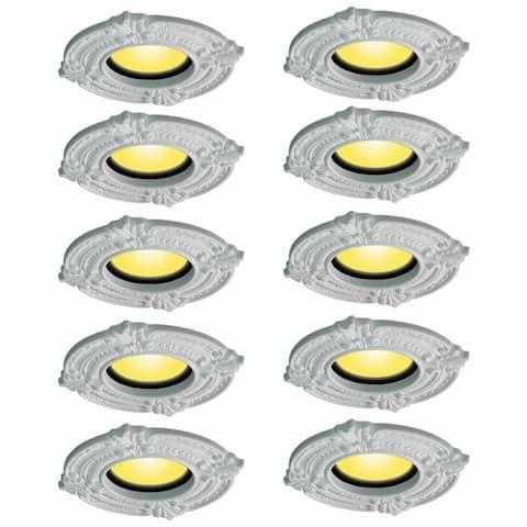 Spot Light Trim Medallions 6 Inch ID Urethane White Set of 10