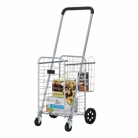 66 lb 3.6 FT Telescopic Armrest Shopping Cart, Silver or Black