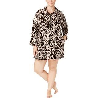 Miss Elaine Womens Plus Short Robe Plush Leopard Print