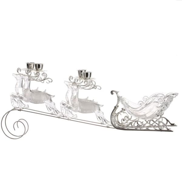 "20"" White And Clear Sleigh Candle Holder"