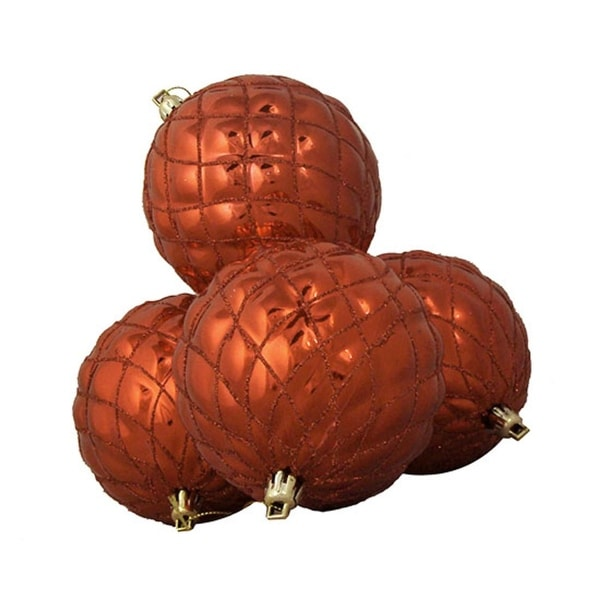 4ct Shiny Orange Diamond Design Shatterproof Christmas Ball Ornaments 3.75""