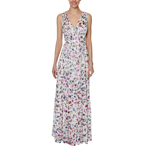 Laundry by Shelli Segal Women's Floral Print Pleated Sleeveless V-Neck Gown - White Multi
