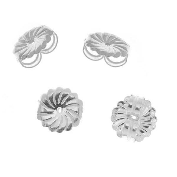 Sterling Silver Large Fancy Earring Backs (Earnuts) (4)