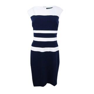 Lauren by Ralph Lauren Women's Colourblock Gabardine Dress - Light Navy