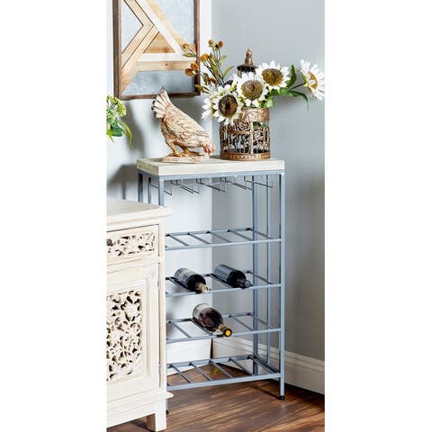 Rustic 36 x 19 Inch Iron and Wood 4-Tiered Wine Storage by Studio 350