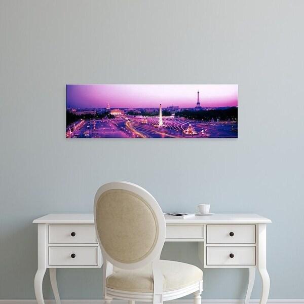 Easy Art Prints Panoramic Images's 'Dusk Place de la Concorde Paris France' Premium Canvas Art