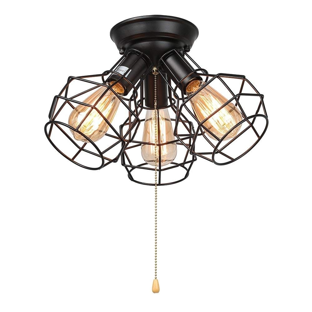 Shop 3 Light Vintage Industrial Wire Cage Pull String Ceiling Light Fixture On Sale Overstock 24307424