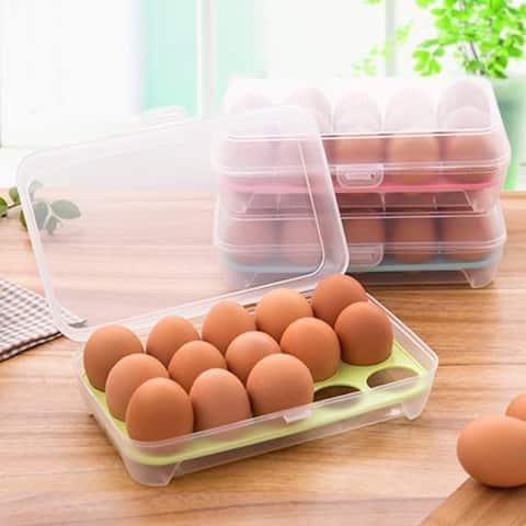 15 Egg Anti-Collision Grid Storage Box / Storage Refrigerator Crisper / Portable Egg Cell Egg Tray