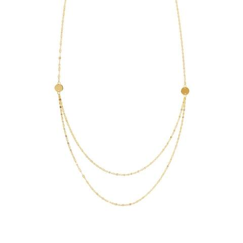 """Curata 14k Yellow or White Gold Linear Gradual Hammered Mariner Bib Necklace, 18"""""""