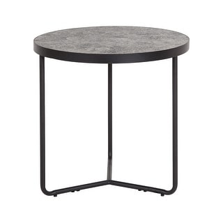 "Offex 19.5"" Contemporary Round End Table in Concrete Laminate Finish - Gray"